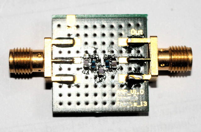 low pass filter passive 4.order  500 MHz, with16pF- 13nH,-,22pf-13NH-16pF calculated with filterdesign guide
